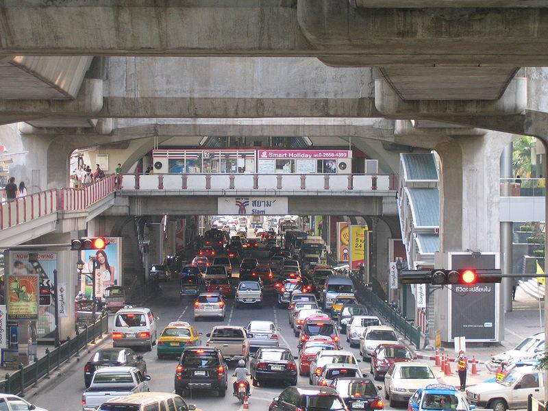 Siam BTS station and Rama I Road traffic in Bangkok