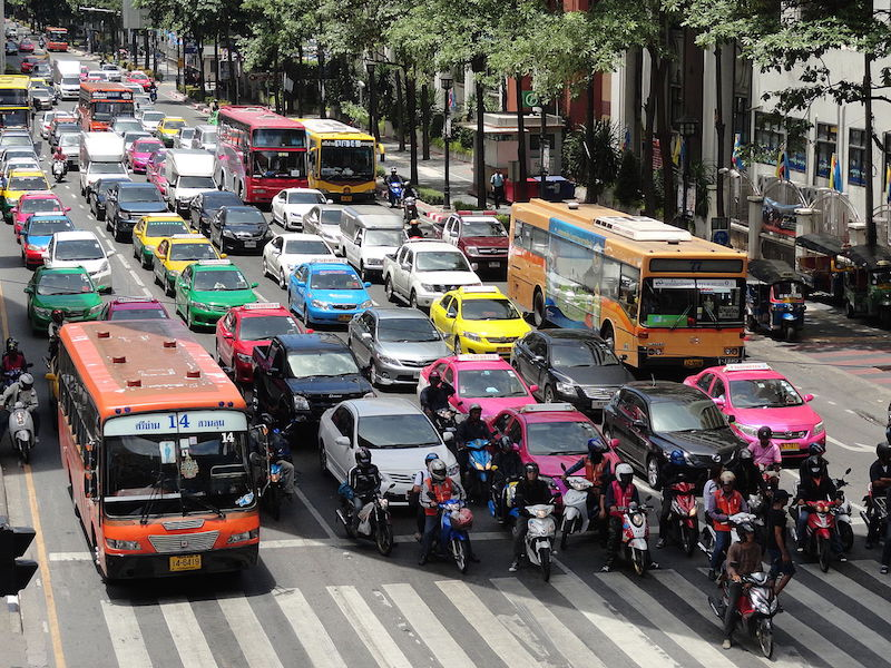 Traffic in Ratchadamri Road, Bangkok