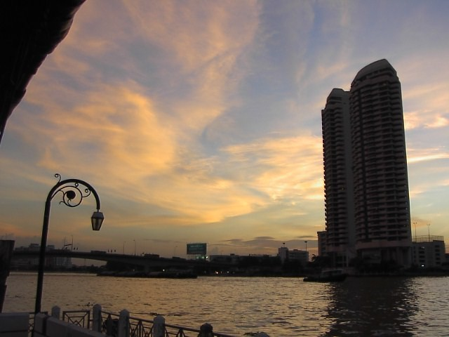 Bangkok in the morning and the Chao Phraya River