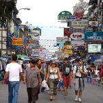 Tourists walking on Khao San road in Bangkok