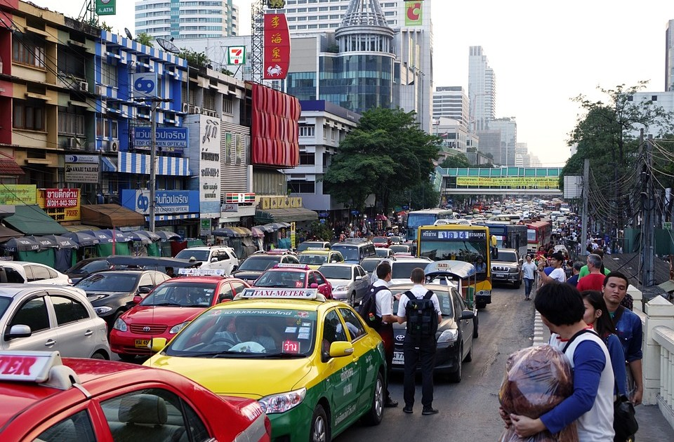 Traffic jam in central Bangkok