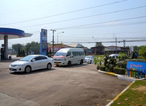 Minivan at gas station in Thailand
