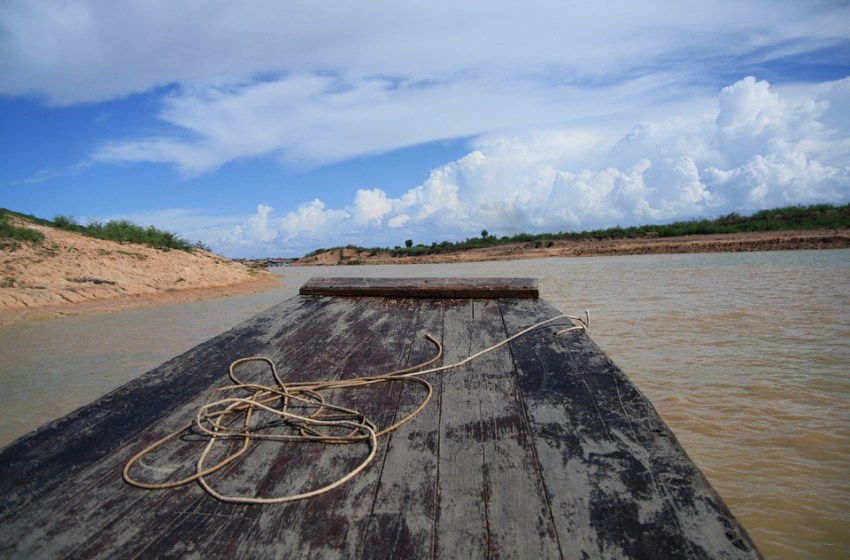 Wooden raft on a river in Cambodia
