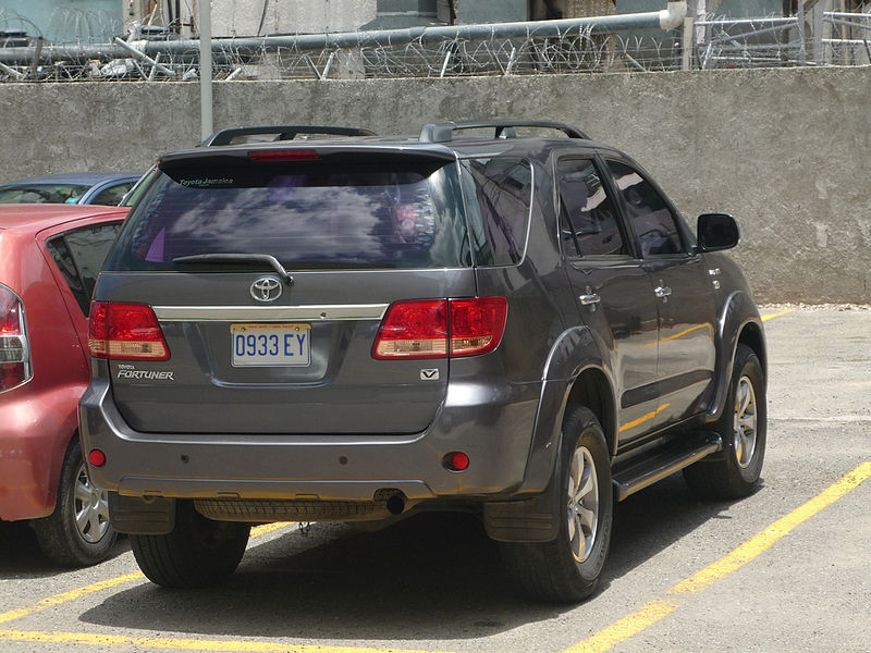 Toyoya Fortuner parked at a bank
