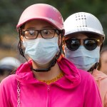Asian people wearing face masks