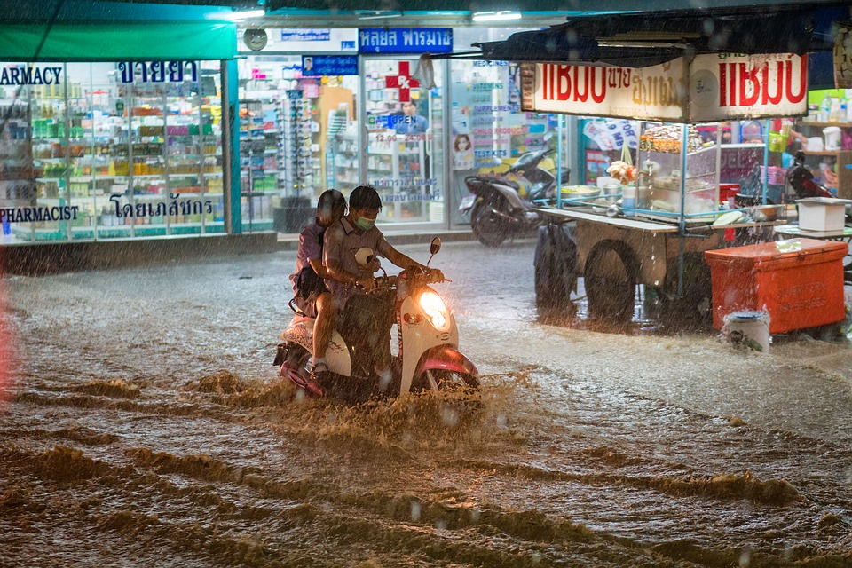 Flooded street in Thailand