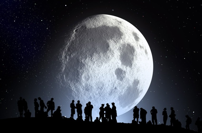 Full moon and people