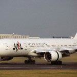 Japan Airlines (JAL) aircraft at Itami Airport.