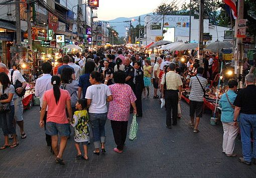 Sunday evening walking street market on Rachadamnoen road