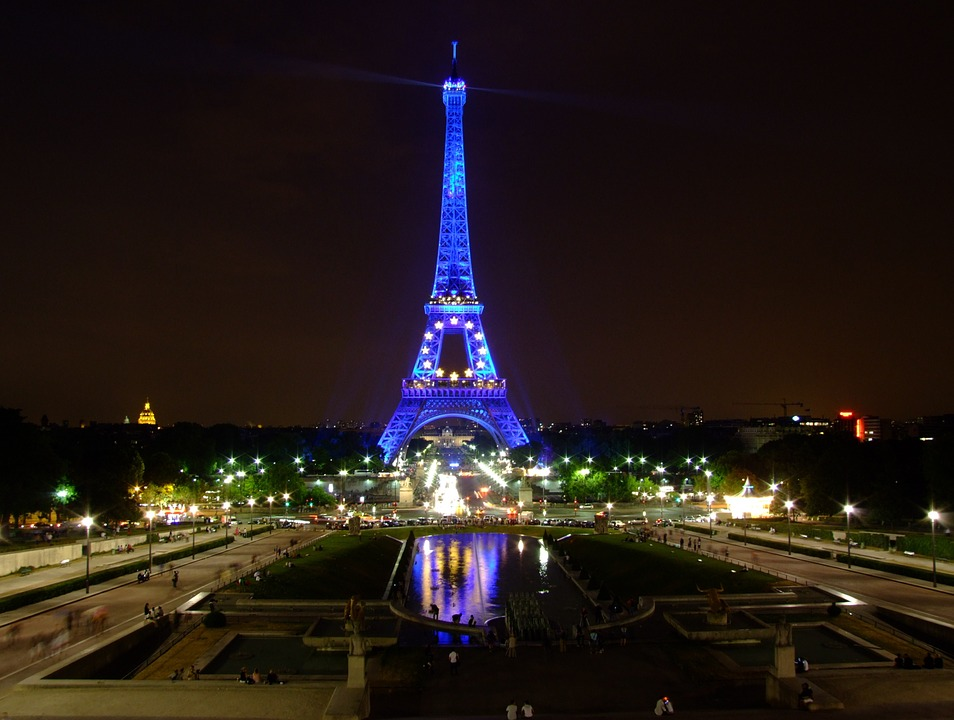 Night view of the Eiffel tower in Paris, France