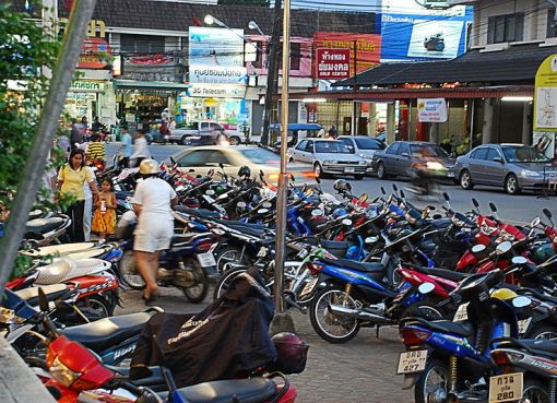 Parked motorcycles in Phuket