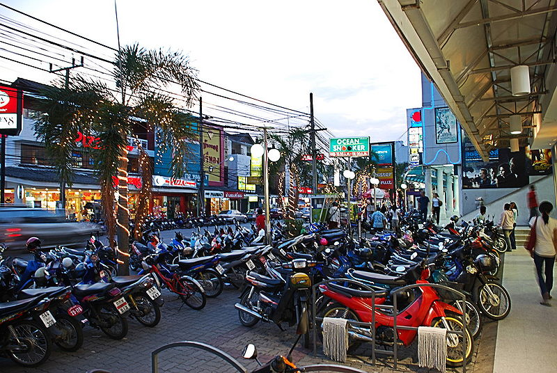 Motorbikes parked in Phuket downtown