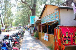 Shops on a beach road in Phuket