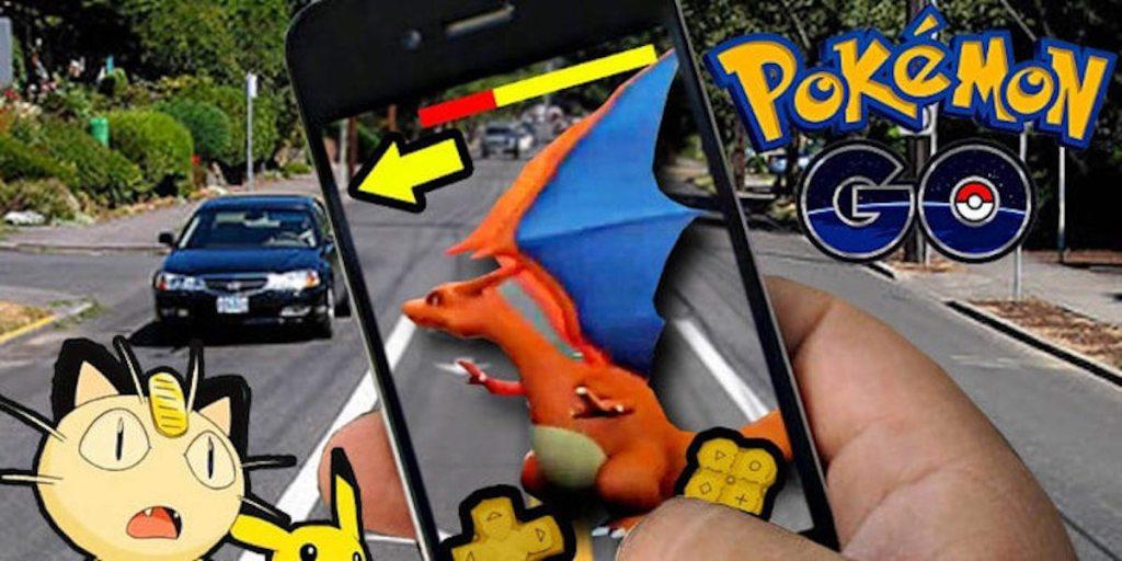 Pokemon Go on a road