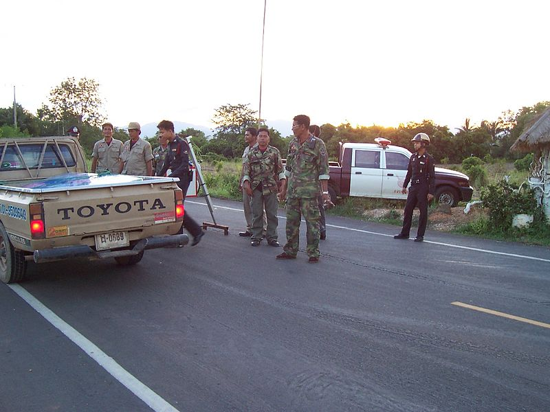 Thai police road checkpoint