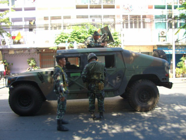 Humvee at Ratchaprarop road in Bangkok