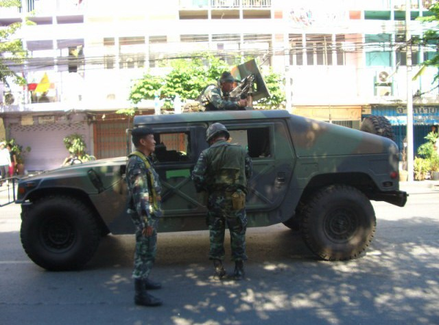 Humvee at Ratchaprarop road in Bangkok