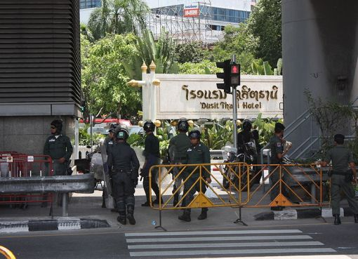 Thai police near a hotel in Bangkok
