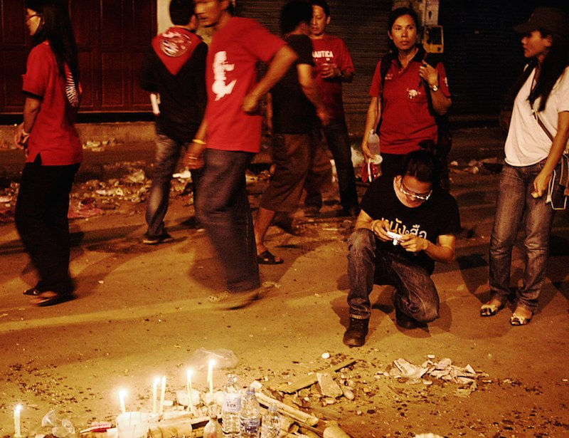 Candles commemorating the casualties suffered by the protesters of 2010 Thai military crackdown