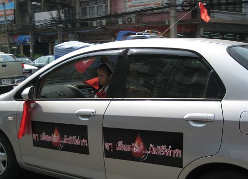 Red shirt (UDD) car in Thailand