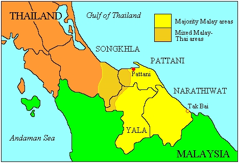 Map showing the ethnic distribution in southern Thailand