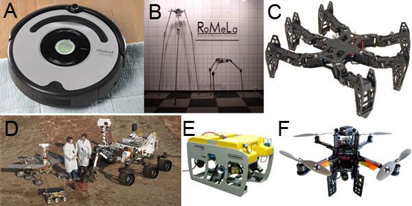 A) หุ่นยนต์ดูดฝุ่น 2 ล้อ iRobot Roomba, B) หุ่นยนต์ 3 ขา Strider, C) หุ่นยนต์ 6 ขา, D) หุ่นยนต์ 6 ล้อ rocker-bogie, E) หุ่นยนต์สำรวจใต้น้ำ, F) อากาศยานไร้คนขับ 4 ใบพัด