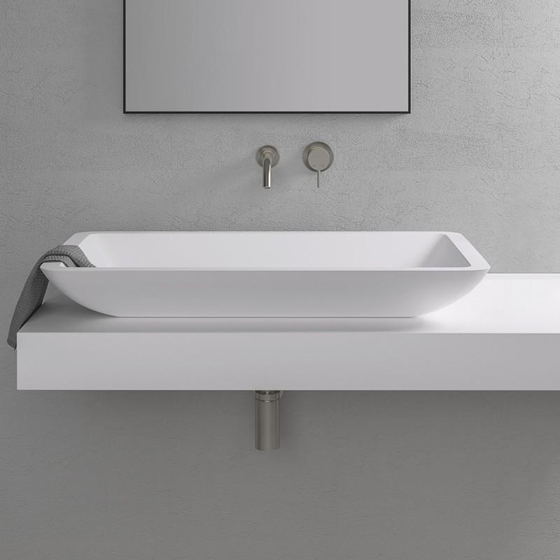Vasque A Poser Rectangulaire En Solid Surface Lake 80x46 Cm