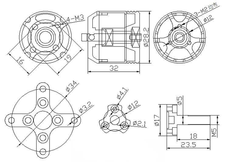 X2316S Brushless Motor KV880 KV1100 KV1250 KV2400 Multi