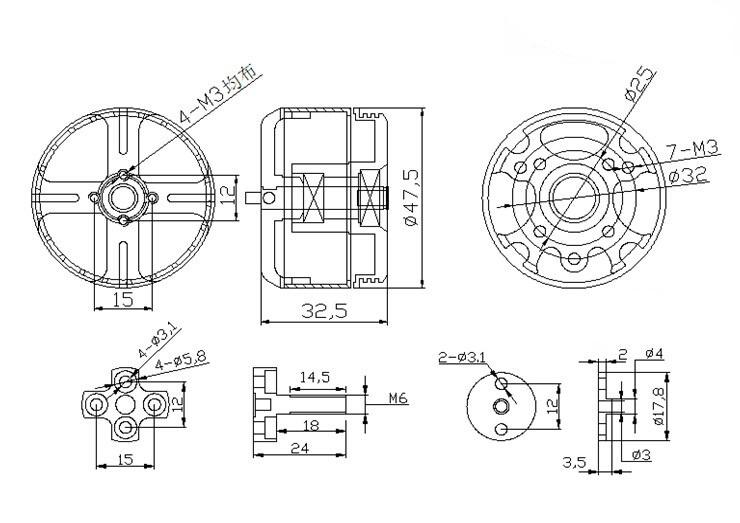 X4114S Brushless Motor KV390 KV440 24N22P Multi-axis for