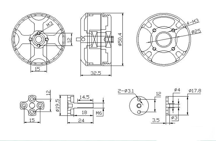 X4314 Brushless Motor KV360 18N24P Multi-axis for FPV