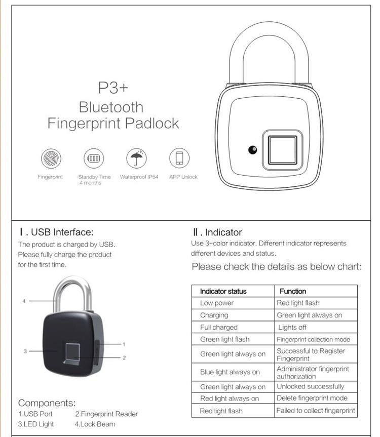 Bluetooth Fingerprint Padlock Biometric Fingerprint & APP