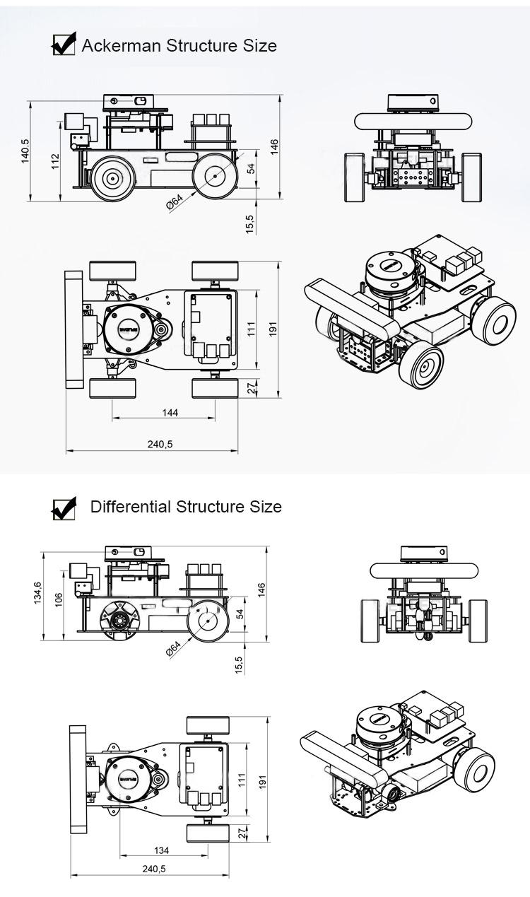 ROS Smart Car Robotic Car Ackerman/Differential Version