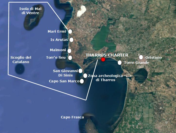 Cartina Sardegna Tharros.Itinerari Tharros Charter Noleggia La Tua Barca A Vela In Sardegna
