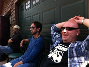 Resting before a performance in Gnaw Bone, IN.
