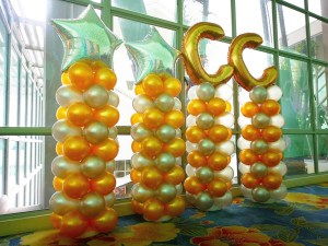 Gold and Silver Balloon Columns