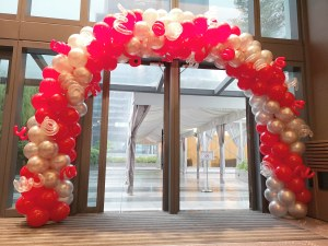 Red and Silver Balloon Arch