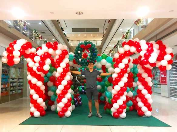 Giant Balloon Candy Cane Sculpture