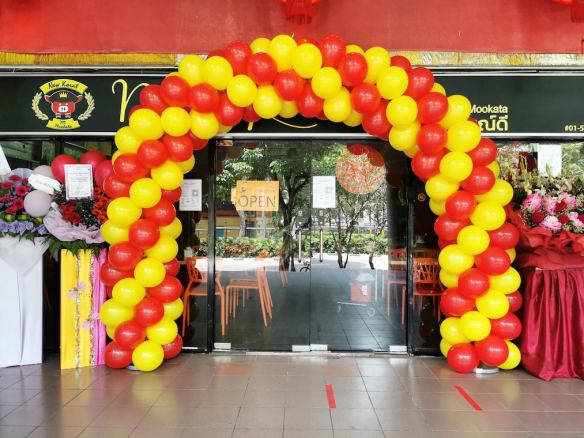 Red and Yellow Spiral Balloon Arch Singapore