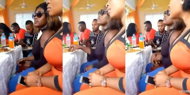Two Beautiful slay queens spotted stealing meat into their bags at an event