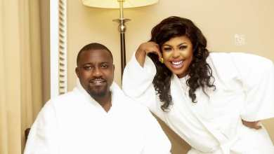 Afia Schwarzenneger and John Dumelo chopping themselves