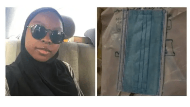 Lady finds pant liner in special nose mask she bought