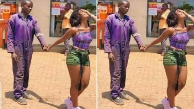 Photos of pretty lady who visited boyfriend at his mechanic workshop to take him out on a date goes viral