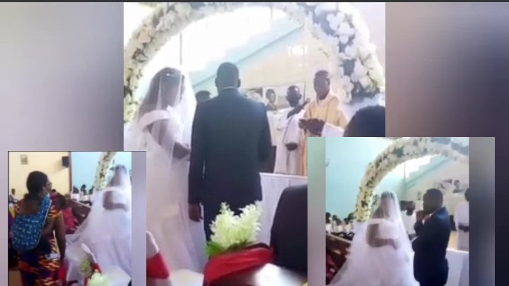 VIDEO: Drama as Wife Stops Husband From Wedding Another Woman in Church!