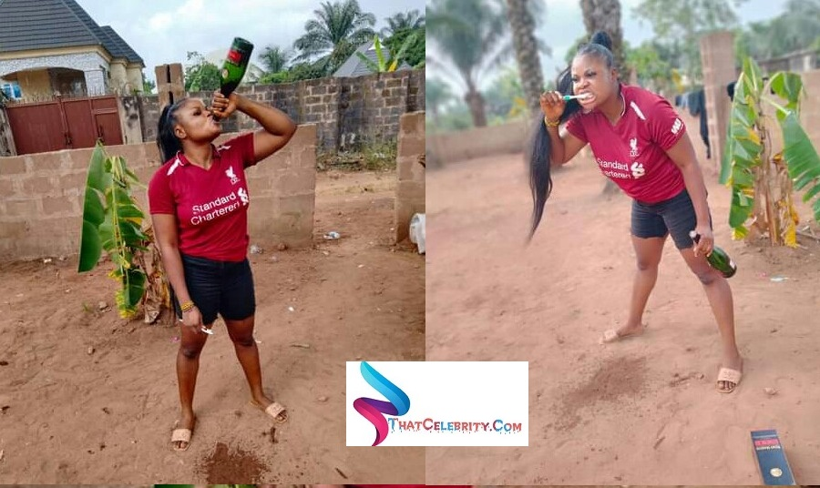 "Anastasia Michael ""This year I 'm never gonna brush with water"" - Nigerian woman boasts as she brushes her teeth with a bottle of N28K Remy Martin VSOP"