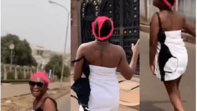 Madness !!! Nigerian actress Blessing Okoro hits street with towel wand panties (video)