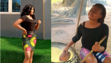 "Beautiful lady who fries garri and farms for a living goes viral as she transforms into a beauty to ""spend"" her money"