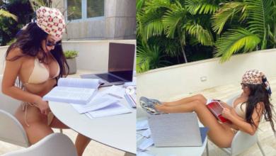 Kim Kardashian shares sexy bikini photos of herself studying in the sun