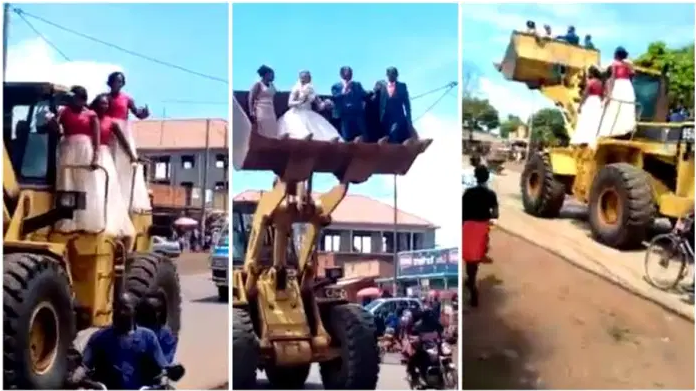 Watch Drama as a newlywed couple and their bridesmaids are ferried in a loader [video]