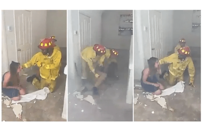 Drama ensue as fire fighter rescues man and woman from a burning hotel room only to see that it was his wife