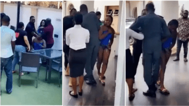 Angry wife beats husband's side chick after catching them in a hotel